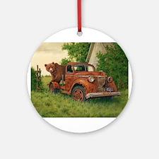 Lets Go Cinnamon Bear Ornament (Round)