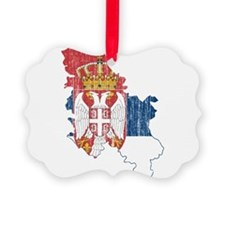 Serbia Flag And Map Ornament