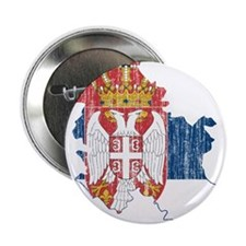 "Serbia Flag And Map 2.25"" Button"