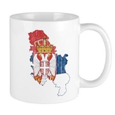Serbia Flag And Map Small Mug