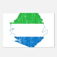 Sierra Leone Flag And Map Postcards (Package of 8)