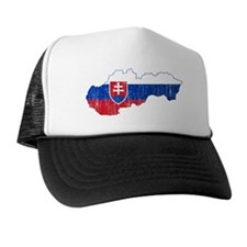 Slovakia Flag And Map Trucker Hat
