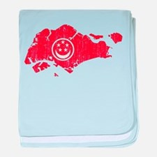 Singapore Civil Ensign Flag And Map baby blanket