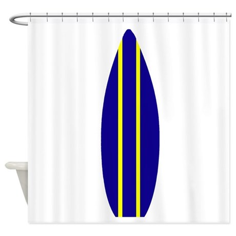 navy surfboard shower curtain