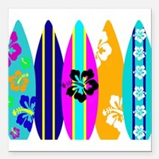 """Surfboards Square Car Magnet 3"""" x 3"""""""