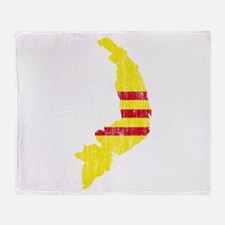 South Vietnam Flag And Map Throw Blanket