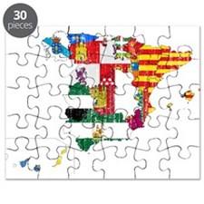 Spain Subdivisions Flag And Map Puzzle