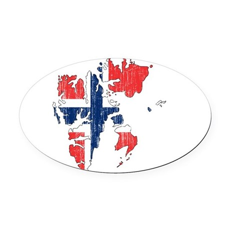 Norway Flag And Map Oval Car Magnet