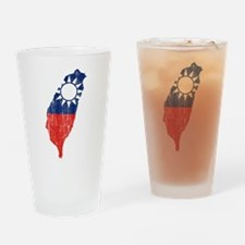 Taiwan Flag And Map Drinking Glass