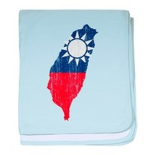 Taiwan Flag And Map baby blanket