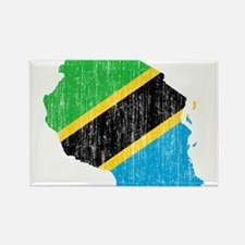 Tanzania Flag And Map Rectangle Magnet