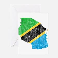 Tanzania Flag And Map Greeting Card