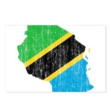 Tanzania Flag And Map Postcards (Package of 8)