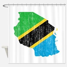 Tanzania Flag And Map Shower Curtain