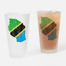 Tanzania Flag And Map Drinking Glass