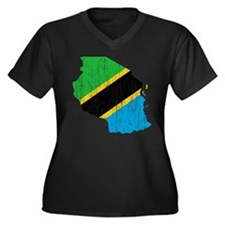 Tanzania Flag And Map Women's Plus Size V-Neck Dar