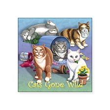"Cats Gone Wild Square Sticker 3"" x 3"""