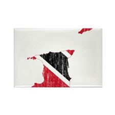 Trinidad And Tobago Flag And Map Rectangle Magnet