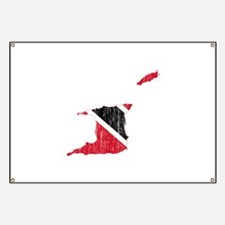 Trinidad And Tobago Flag And Map Banner