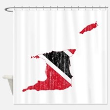 Trinidad And Tobago Flag And Map Shower Curtain