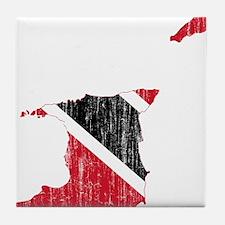 Trinidad And Tobago Flag And Map Tile Coaster