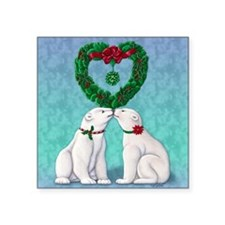 "Polar Bear Kiss Square Sticker 3"" x 3"""