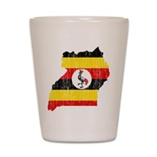 Uganda Flag And Map Shot Glass