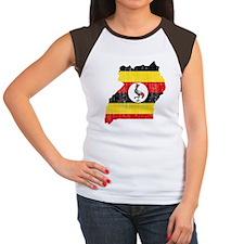 Uganda Flag And Map Women's Cap Sleeve T-Shirt