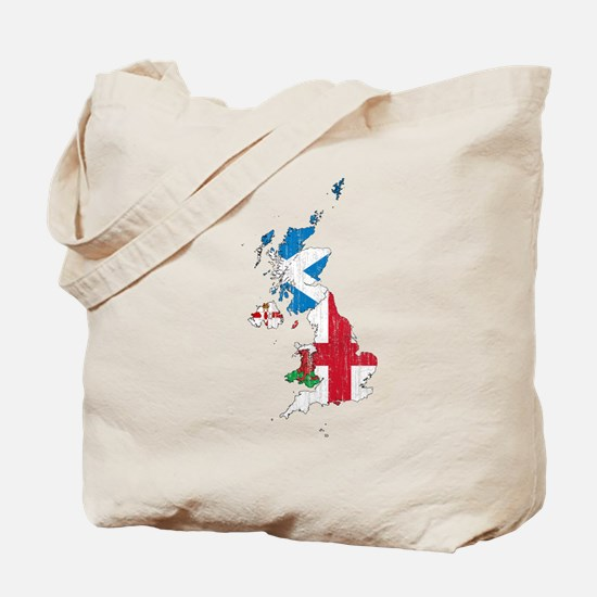 United Kingdom Subdivisions Flag And Map Tote Bag