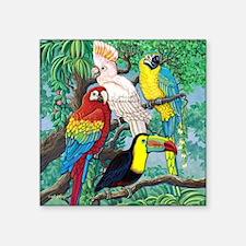 """Tropical Birds Square Sticker 3"""" x 3"""""""
