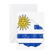 Uruguay Flag And Map Greeting Card