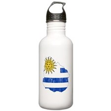 Uruguay Flag And Map Water Bottle