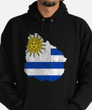 Uruguay Flag And Map Hoodie (dark)