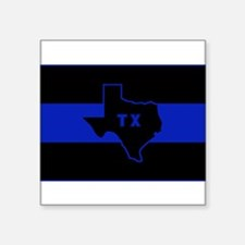 "Thin Blue Line - Texas Square Sticker 3"" x 3"""