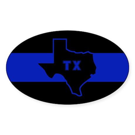 Thin Blue Line - Texas Sticker (Oval 10 pk)