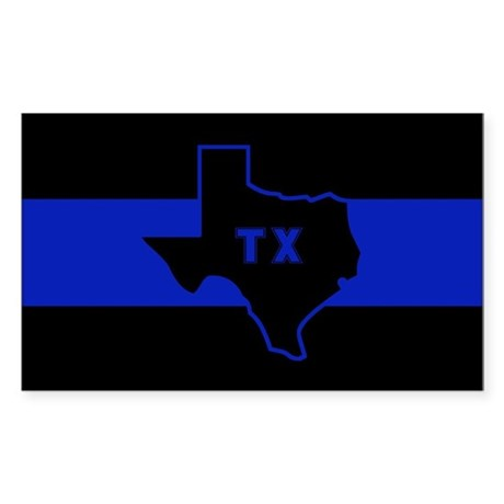 Thin Blue Line - Texas Sticker (Rectangle)