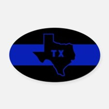 Thin Blue Line - Texas Oval Car Magnet