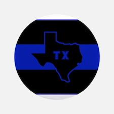 """Thin Blue Line - Texas 3.5"""" Button"""