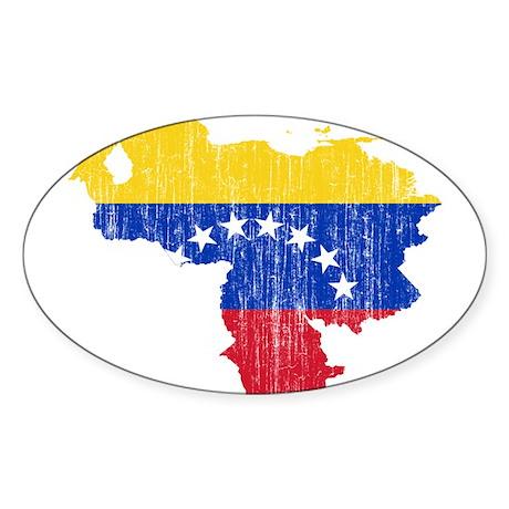 Venezuela Flag And Map Sticker (Oval 10 pk)