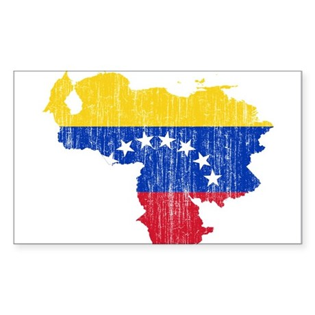 Venezuela Flag And Map Sticker (Rectangle)