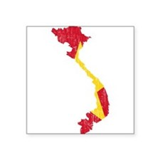 "Vietnam Flag And Map Square Sticker 3"" x 3"""