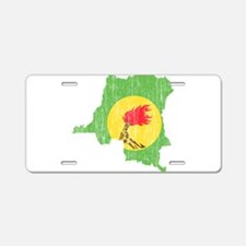 Zaire Flag And Map Aluminum License Plate