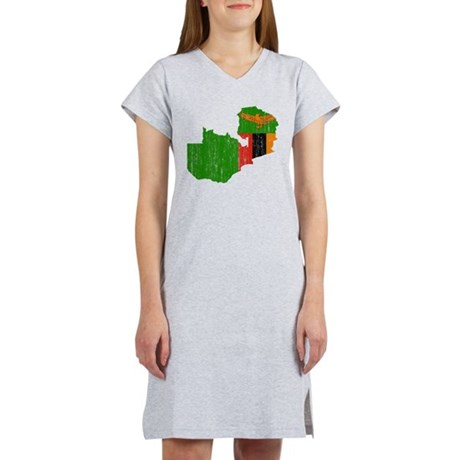 Zambia Flag And Map Women's Nightshirt