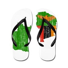 Zambia Flag And Map Flip Flops