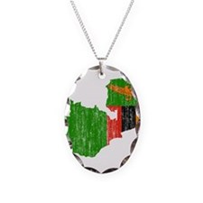 Zambia Flag And Map Necklace