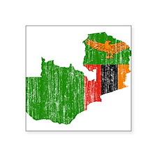 "Zambia Flag And Map Square Sticker 3"" x 3"""