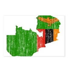 Zambia Flag And Map Postcards (Package of 8)