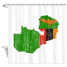 Zambia Flag And Map Shower Curtain