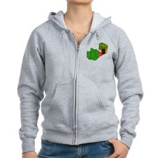 Zambia Flag And Map Zip Hoodie