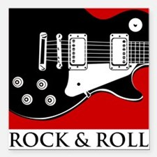 "Rock & Roll Square Car Magnet 3"" x 3"""